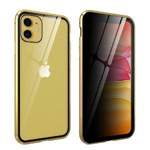 iPhone 11 Magnetisk Metal Cover m. Glasforside & Bagside m. Privacy Glass - Guld
