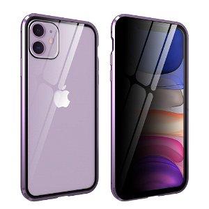 iPhone 11 Magnetisk Metal Cover m. Glasforside & Bagside m. Privacy Glass - Lilla