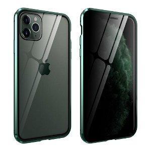 iPhone 11 Pro Max Magnetisk Privacy Cover m. Glas For- & Bagside - Grøn