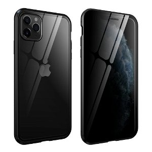 iPhone 11 Pro Max Magnetisk Privacy Cover m. Glas For- & Bagside - Sort