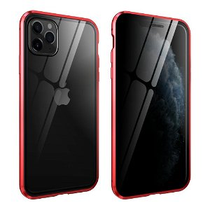 iPhone 11 Pro Max Magnetisk Privacy Cover m. Glas For- & Bagside - Rød