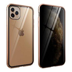 iPhone 11 Pro Max 360° Magnetisk Cover m. Glas Bagside og Forside m. Privacy Funktion - Guld