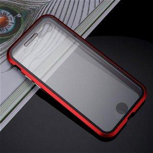 iPhone SE (2020)/8/7 360⁰ Magnetisk Cover m. Glas Forside & Bagside - Rød / Sort