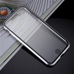 iPhone SE (2020)/8/7 360⁰ Magnetisk Cover m. Glas Forside & Bagside - Sølv