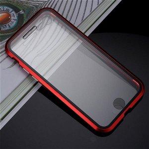 iPhone SE (2020)/8/7 360⁰ Magnetisk Cover m. Glas Forside & Bagside - Rød