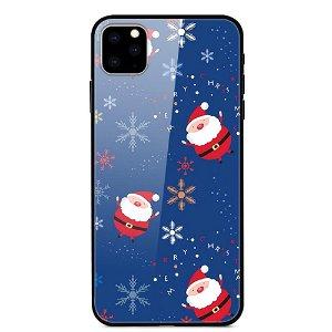 iPhone 11 Pro Max Jule Cover m. Glasbagside - Små Julemænd og Snefnug