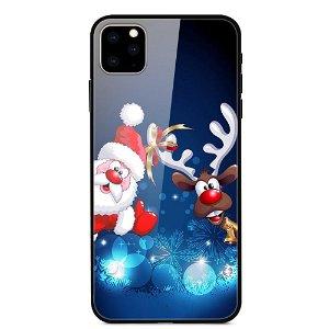 iPhone 11 Pro Max Jule Cover m. Glasbagside - Julemand og Rensdyr