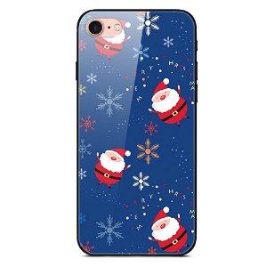 iPhone SE (2020)/8/7 Jule Cover m. Glasbagside - Små Julemænd og Snefnug