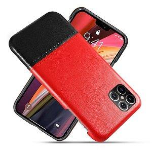 iPhone 12 Pro Max Læder Bagside Cover - Rød / Sort