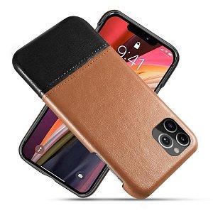 iPhone 12 / 12 Pro Læder Bagside Cover - Brun / Sort