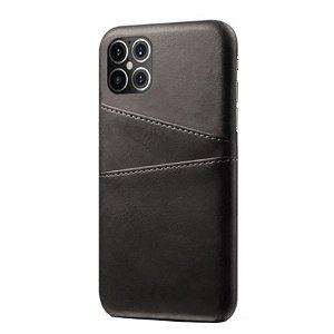 iPhone 12 Pro Max Plastik Cover m. Læderbetræk & Kortholder Sort