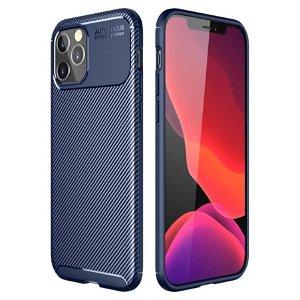 iPhone 12 / 12 Pro Carbon Fibre Style Plastik Cover - Blå