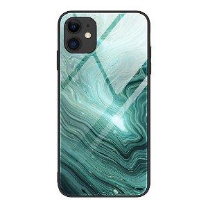 iPhone 12 Mini Bagside Cover m. Glasbagside - Grøn Galakse