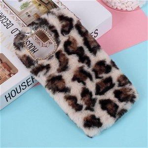 iPhone 12 Mini Blødt Leopard Pels Cover m. Rhinsten - Beige