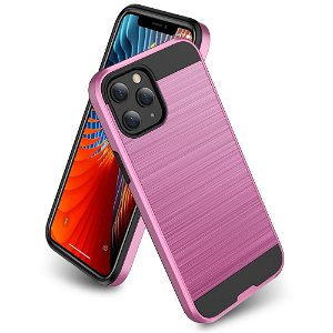iPhone 12 / 12 Pro Plastik Cover m. Metal Look - Pink