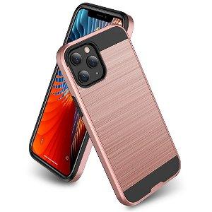 iPhone 12 / 12 Pro Plastik Cover m. Metal Look - Rose Gold