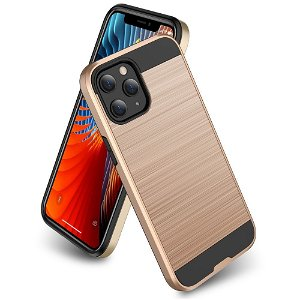 iPhone 12 / 12 Pro Plastik Cover m. Metal Look - Guld
