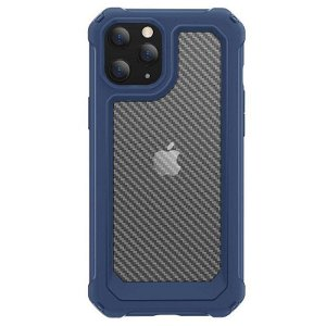 iPhone 12 Pro Max Transparent Carbon Håndværker Case - Blå