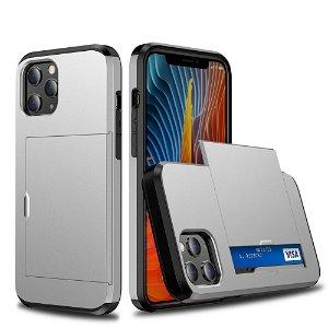 iPhone 12 Pro Max Håndværker Cover m. Kortholder - Sølv