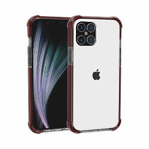 iPhone 12 Pro / 12 Plastik Cover Hybrid - Gennemsigtig / Mørkerød