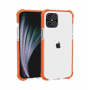 iPhone 12 Pro / 12 Plastik Cover Hybrid - Gennemsigtig / Orange