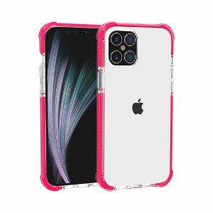 iPhone 12 Pro / 12 Plastik Cover Hybrid - Gennemsigtig / Pink