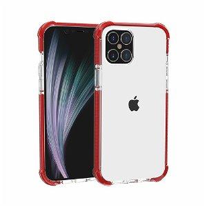 iPhone 12 Pro / 12 Plastik Cover Hybrid - Gennemsigtig / Rød
