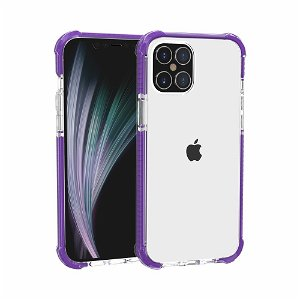 iPhone 12 Pro / 12 Plastik Cover Hybrid - Gennemsigtig / Lilla