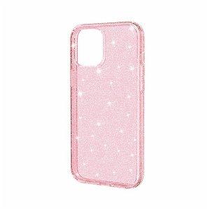 iPhone 12 / 12 Pro Cover m. Glimmer - Gennemsigtig / Pink