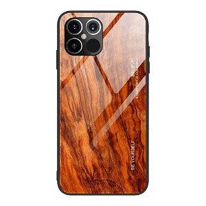 iPhone 12 Pro Max Cover m. Glasbagside - Rødbrunt Træ