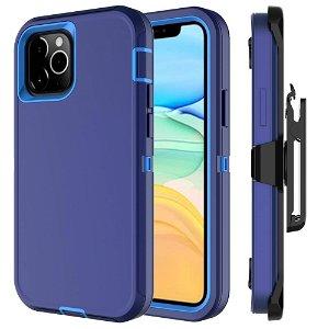 iPhone 12 Mini Håndværker Bagside Cover m. Bælteclips - Blå