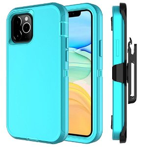iPhone 12 Mini Håndværker Bagside Cover m. Bælteclips - Cyan