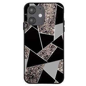 iPhone 12 Mini Cover med Print - Geometri - Sort / Grå Marmor