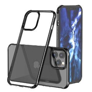 iPhone 12 Pro Max Hybrid Plast Cover - Gennemsigtig / Sort