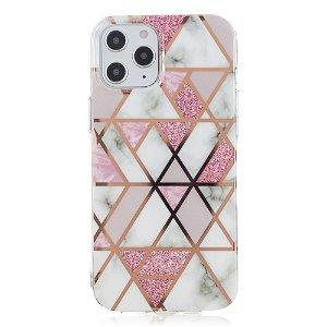 iPhone 12 Pro Max Plast Cover - Lyserødt / Hvid Marmor