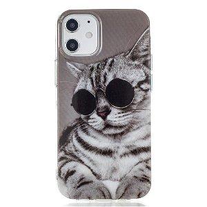 iPhone 12 Mini Plast Cover - Kat med Briller