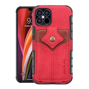 iPhone 12 / 12 Pro Stof Bagside Cover m. Kortholder - Rød