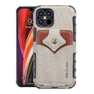 iPhone 12 / 12 Pro Stof Bagside Cover m. Kortholder - Grå