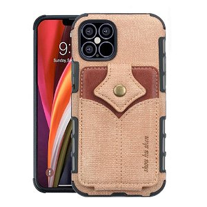 iPhone 12 / 12 Pro Stof Bagside Cover m. Kortholder - Brun