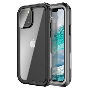 iPhone 12 Mini Vandtæt Håndværker Cover m. Skærmbeskyttelse - Gennemsigtig / Sort