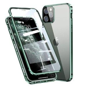 iPhone 11 Pro 360 Graders Magnetisk Cover m. Glas Bagside & Forside - Grøn