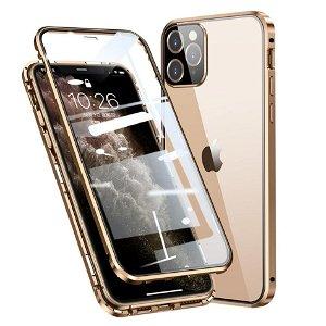 iPhone 11 Pro 360 Graders Magnetisk Cover m. Glas Bagside & Forside - Guld