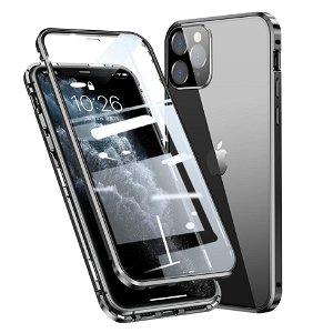 iPhone 11 Pro 360 Graders Magnetisk Cover m. Glas Bagside & Forside - Sort