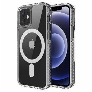 iPhone 12 / 12 Pro Non-Slip Cover - MagSafe Kompatibel - Gennemsigtig / Sort
