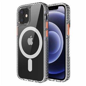 iPhone 12 / 12 Pro Non-Slip Cover - MagSafe Kompatibel - Gennemsigtig / Orange