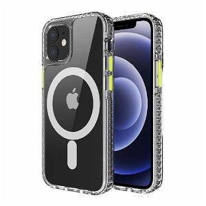 iPhone 12 Mini MagSafe Kompatibel Anti-Slip Cover - Gennemsigtig / Gul