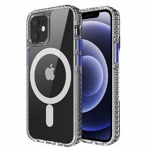 iPhone 12 / 12 Pro Non-Slip Cover - MagSafe Kompatibel - Gennemsigtig / Blå