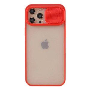 iPhone 12 Pro Max Frosted Plastik Bagside Cover m. Camslider - Rød