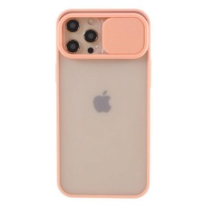 iPhone 12 Pro Max Frosted Plastik Bagside Cover m. Camslider - Lyserød