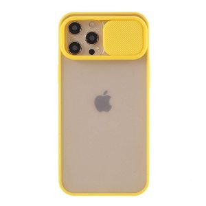iPhone 12 Pro Max Frosted Plastik Case Med CamSlider - Gul